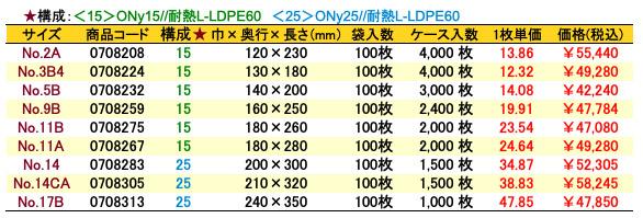 ナイロンポリ_Rタイプ価格表