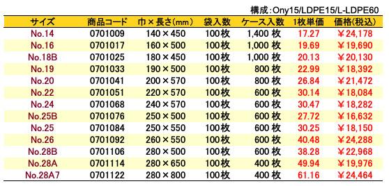 ナイロンポリBタイプ 価格表