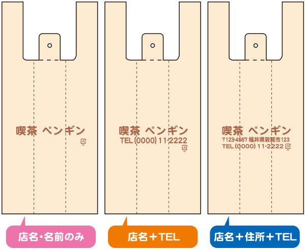 名入れレイアウト例(店名・名前のみ)(店名+TEL)(店名+住所+TEL)