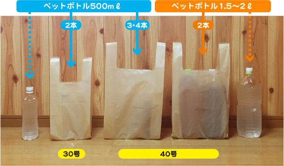 着色カラーオリジナルレジ袋 サイズ比較