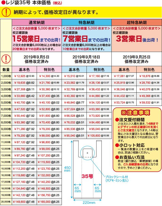 レジ袋35号本体価格(税込)