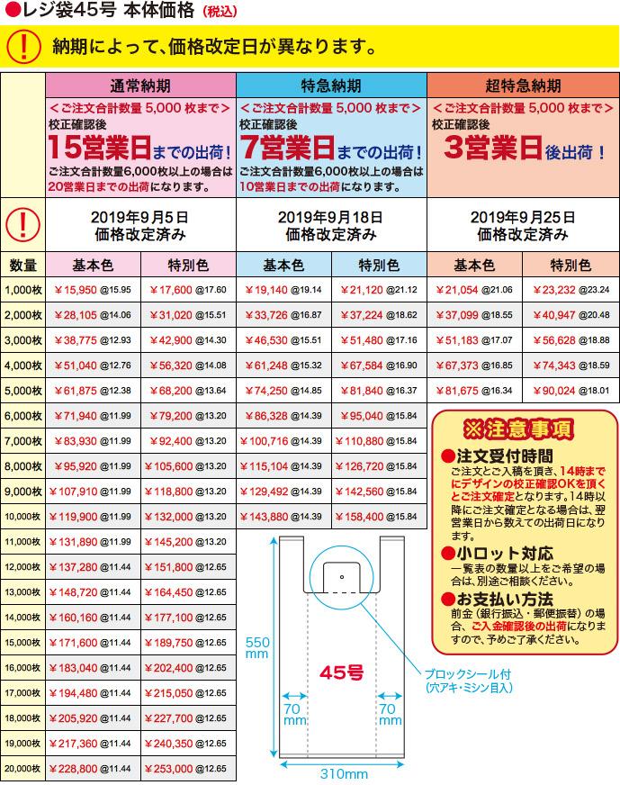 レジ袋45号本体価格(税込)