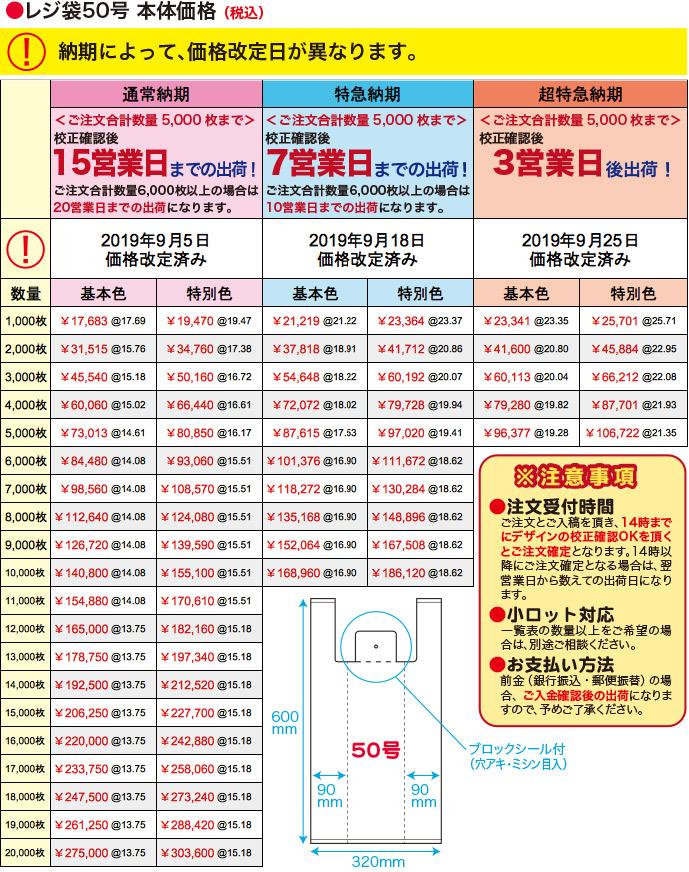 レジ袋50号本体価格(税込)