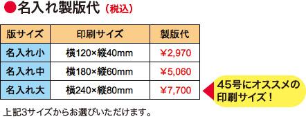 名入れ製版代<名入れ大>横240×縦80mm(45号にオススメの印刷サイズ!)