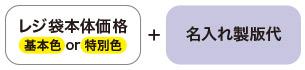 レジ袋本体価格(基本色or特別色)+名入れ製版代