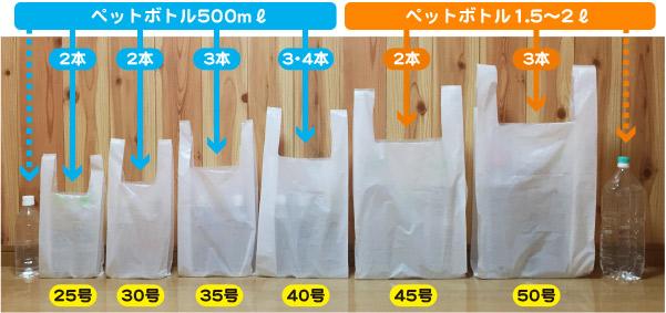 レジ袋25号から50号まで6種類のサイズ比較