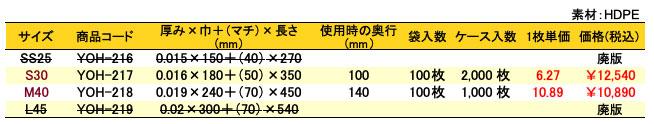 レジ袋Aフロスト 価格表