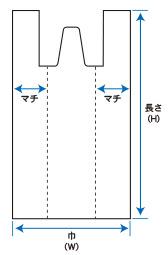 レジ袋_定番用規格図(ミシン目穴無し)長舌片付タイプ