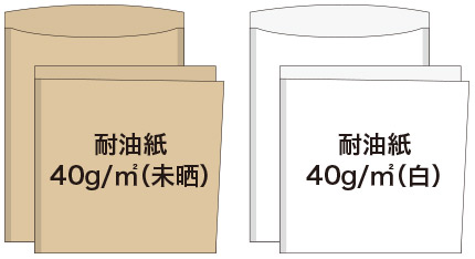耐油平袋の紙質(コの字貼り・L字貼り)