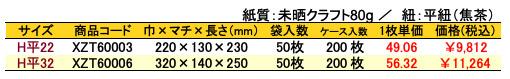 手提げ紙袋 平紐 アンサンブル 価格表(ケース販売)