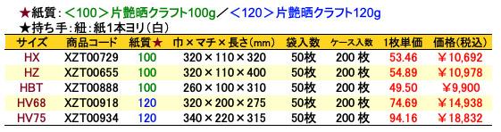 手提袋_風雅グリーン 価格表(ケース販売)