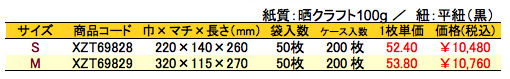 手提袋 ラ・ナチュール 白 価格表(ケース販売)