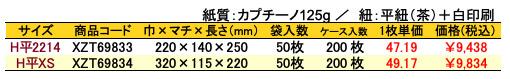 手提紙袋リネンホワイト 価格表(ケース販売)