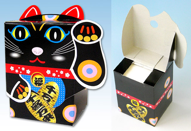 ティッシュ_7092招き猫ティッシュ黒