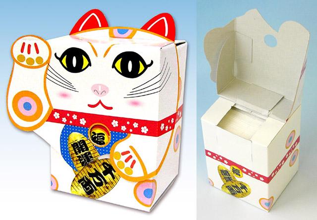 ティッシュ_7095招き猫ティッシュ白